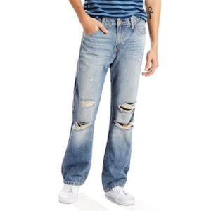 Mens Levi 527 Slim Bootcut Distressed Jeans 33x30